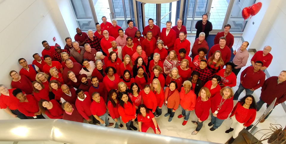 AMERICAN HEART ASSOCIATION Employees all wearing red